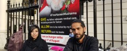 Ali on hunger strike  to highlight his  father's imprisonment in Bahrain