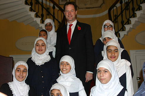 Clegg distances himself from clarkes bag like niqab comment