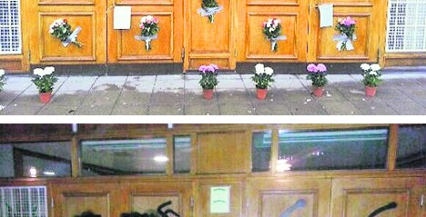 Flowers cover swastikas after mosque attack in Sweden