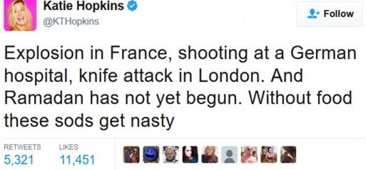 Hopkins slammed over sick Ramadan tweet