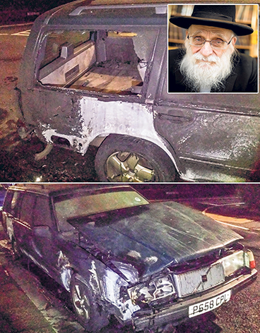 Rabbi's car smashed and torched after condemning Gaza attack