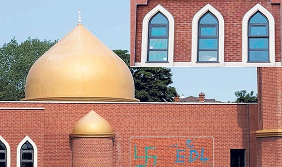 Swastikas and EDL sprayed on Redditch Central Mosque walls