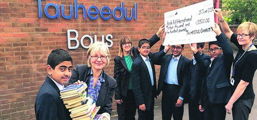 Tauheedul Boys donate to Book Aid International
