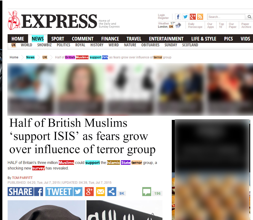 The Daily Express apologises for incorrect story on British Muslims' support ISIS