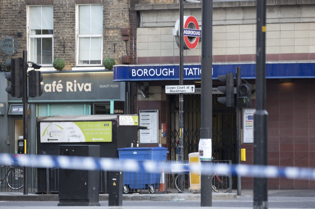 LONDON, ENGLAND - JUNE 4 : Borough Underground Station remains closed, following last night incident where six people were killed in a terror attack in which three assailants were shot dead by police, on June 4, 2017. At least six people were killed in attacks late Saturday as a van mowed down pedestrians on London Bridge before attackers then stabbed victims at nearby Borough Market. ( Isabel Infantes - Anadolu Agency )