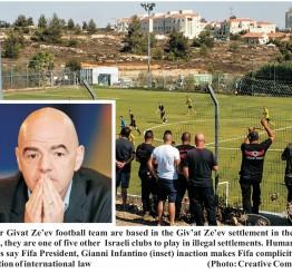 Fifa head succumbs to Israeli pressure on illegal settlement teams